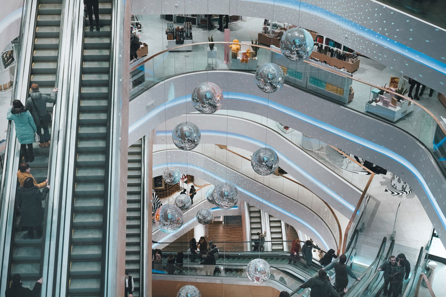 escalators at a shopping mall