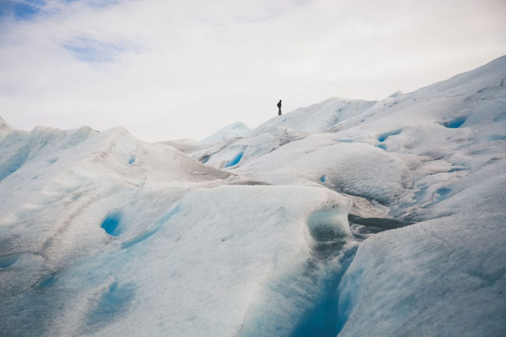 person on an ice mountain
