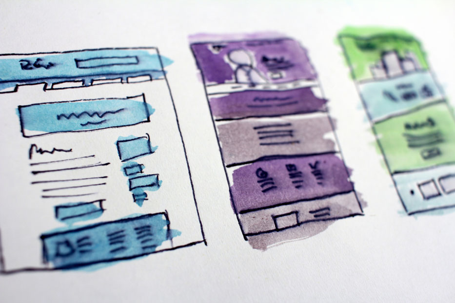 three wireframes