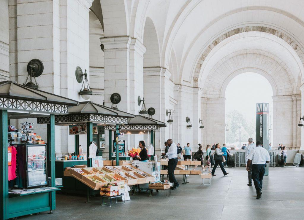 street market next to metro stop