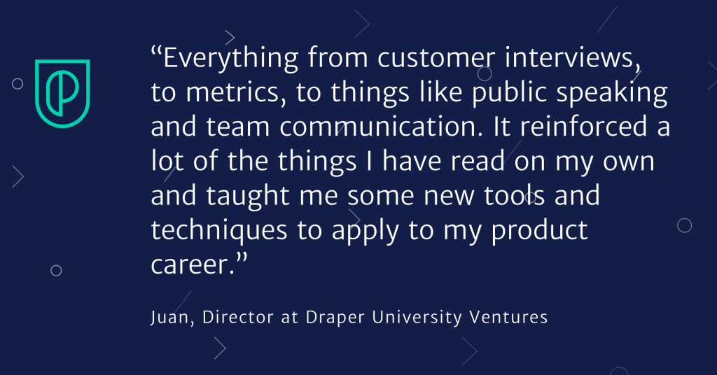 Corporate training success quote from Juan, Director at Draper University