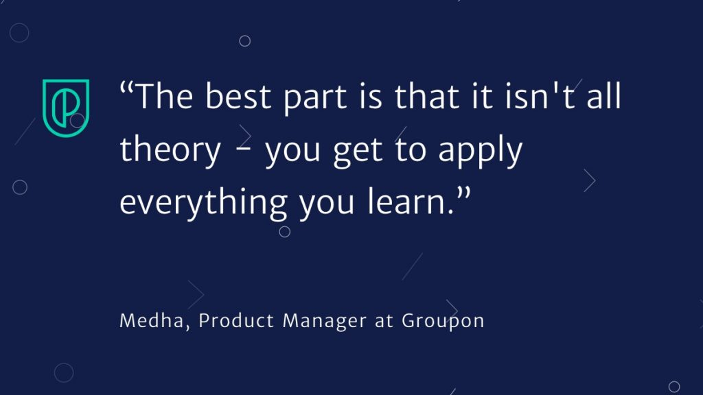 Quote about the success of Product School corporate training from Medha Groupon