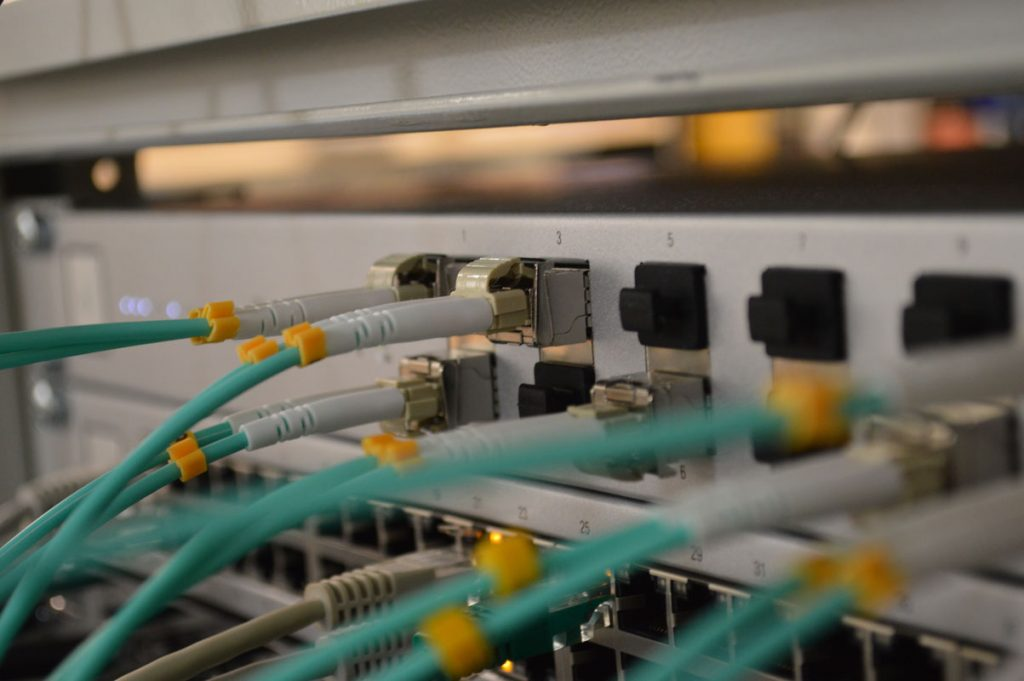 network cables going into a server