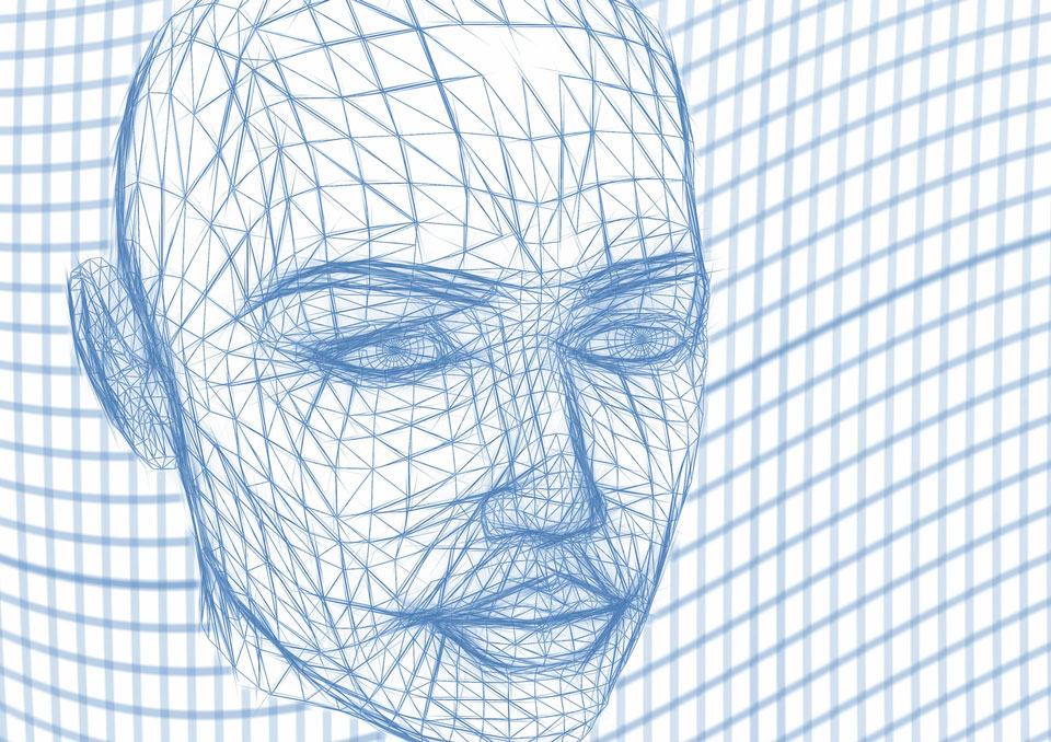 wireframe of a robot's face