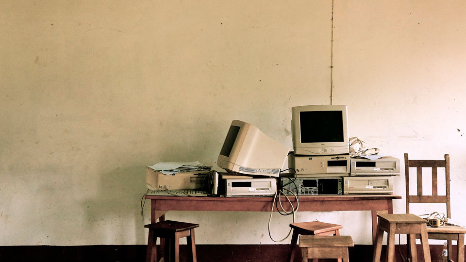 old computers in an abandoned office