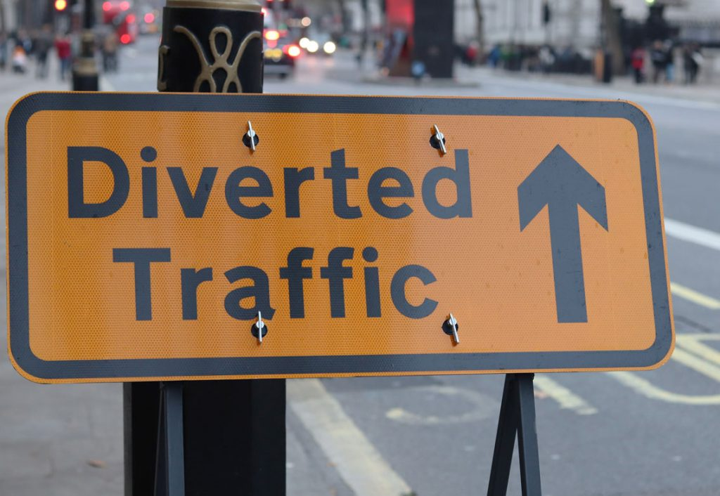 a sign for diverted traffic