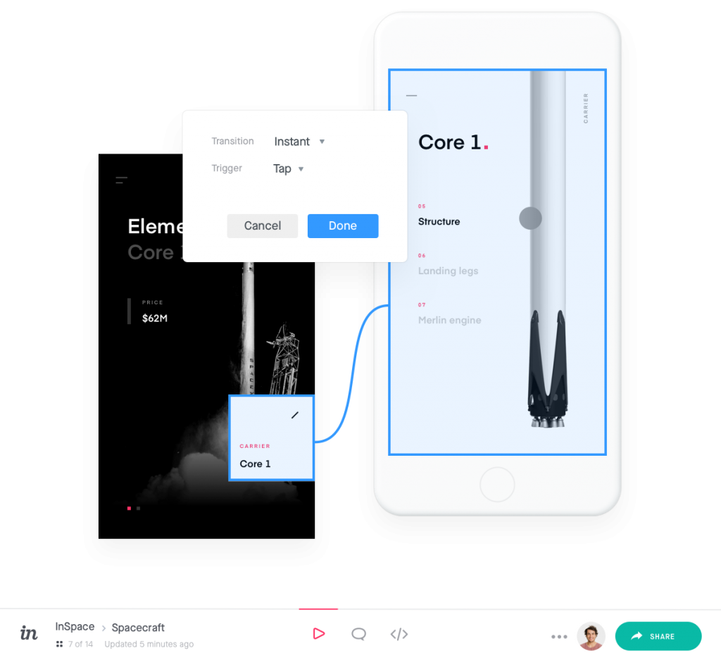 prototype demo from invision app
