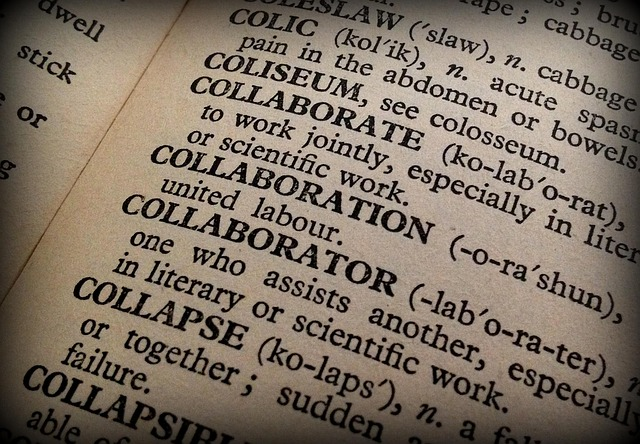 "dictionary page open on the word ""collaboration"""