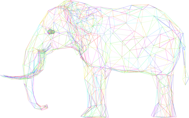 wireframe of a 3D elephant
