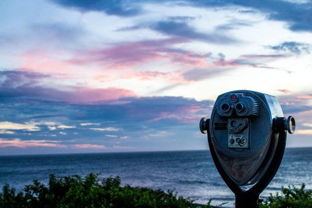 Binoculars looking forward over the ocean
