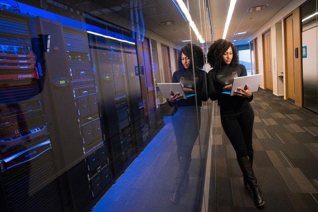 woman analyzing a database