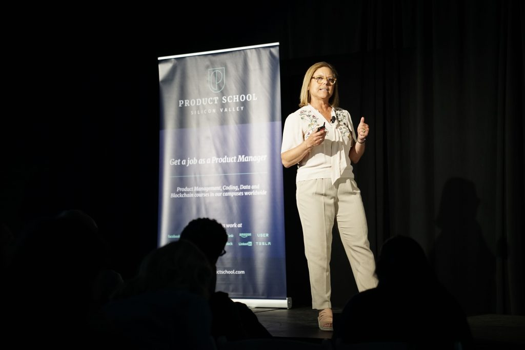 Leslie Grandy talking at ProductCon