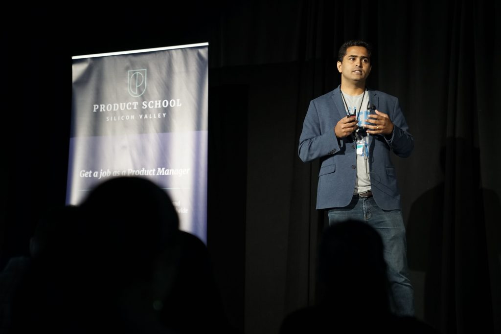 Suhas Manangi talking at ProductCon