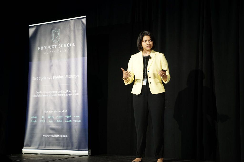 Ria Sankar  talking at ProductCon