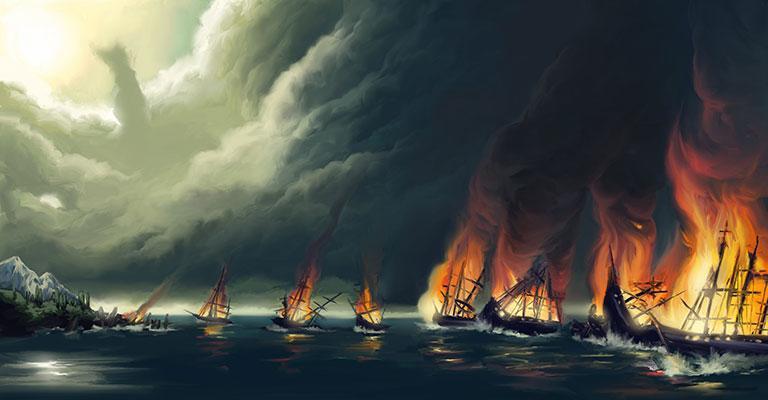 Burning ships of Hernan Cortes
