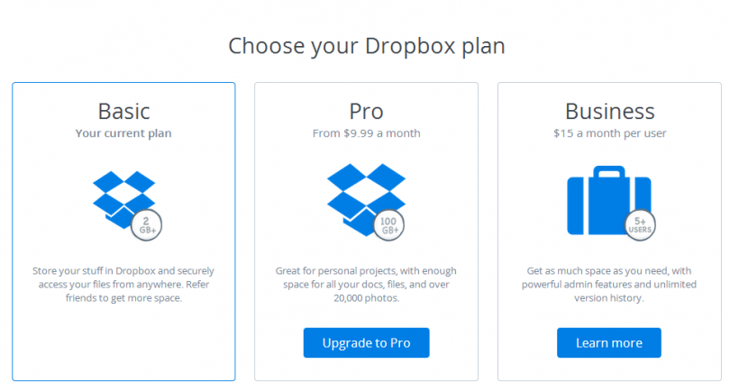 freemium example from dropbox