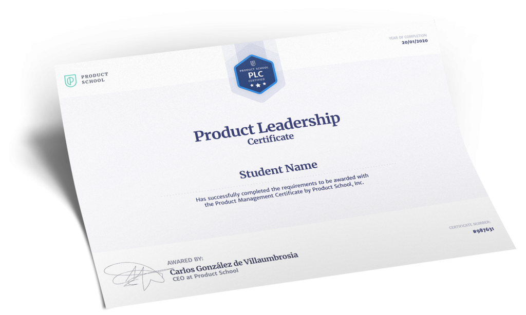 Product Leadership certificate