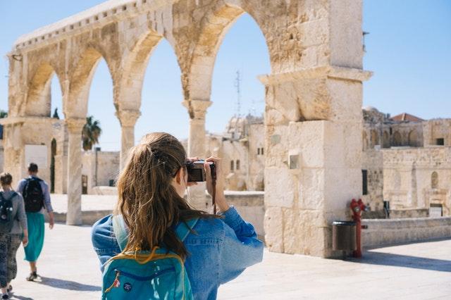 Woman taking cultural photos