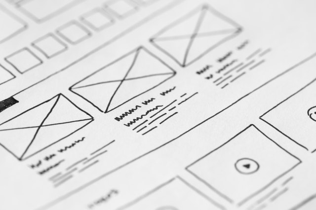 Wireframe of a website