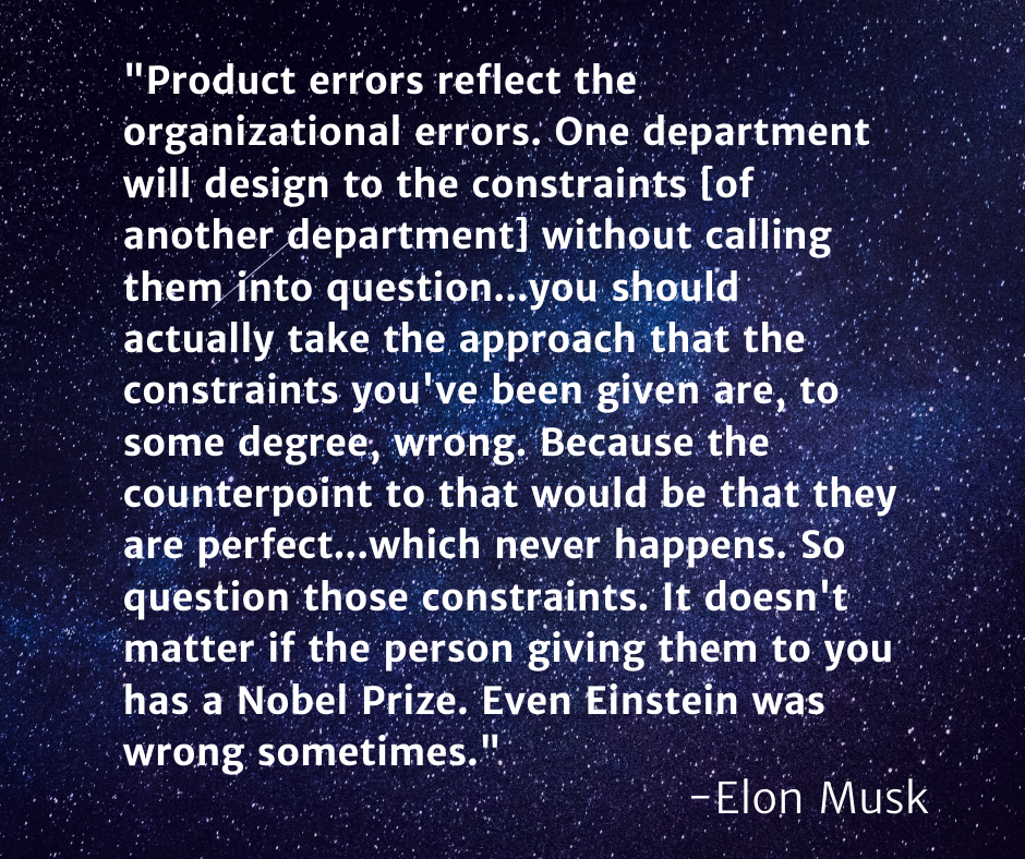 Elon Musk quote on Product errors