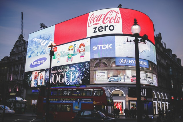 Adverts in picadilly circus