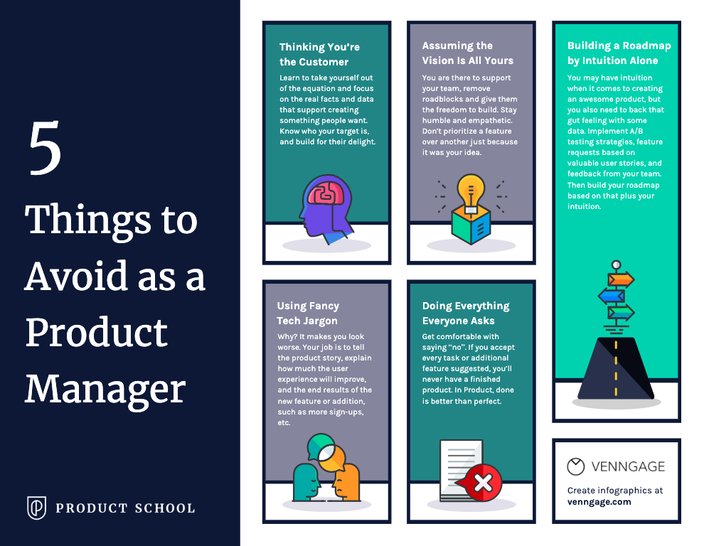 5 things to avoid as a product manager infographic