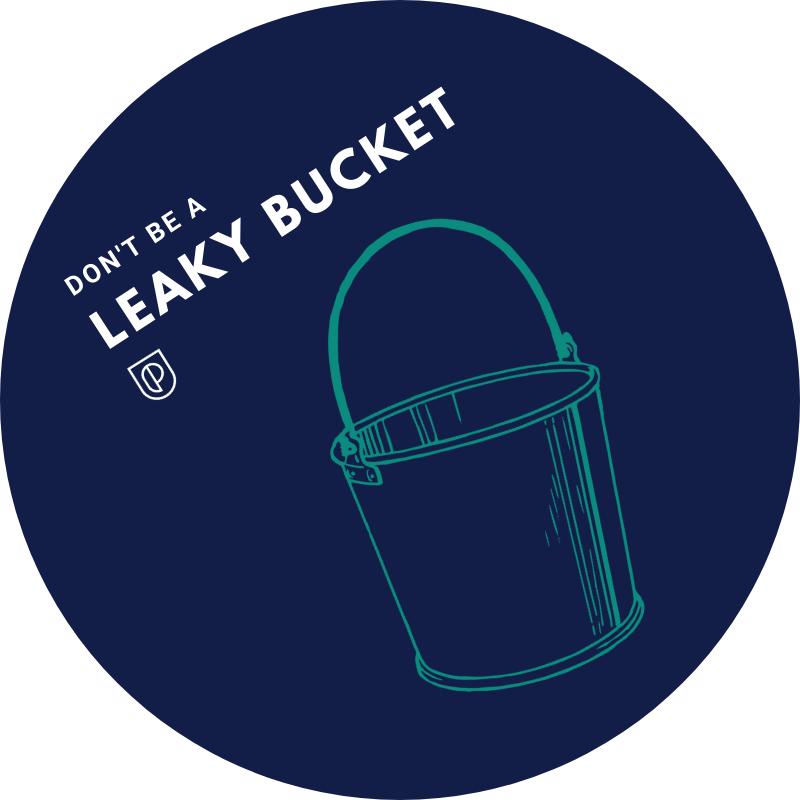 Leaky bucket graphic