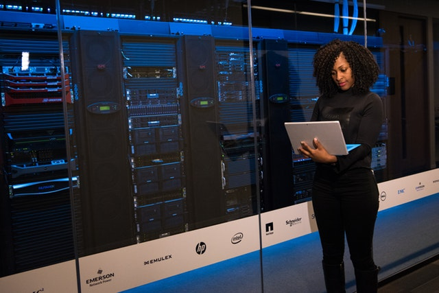 woman working with big data