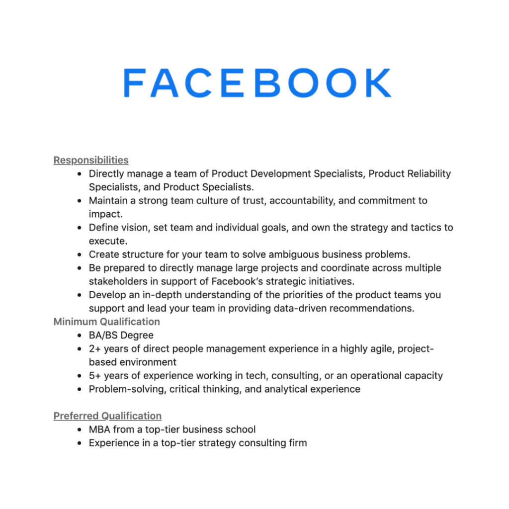 Facebook Product Ops requirements
