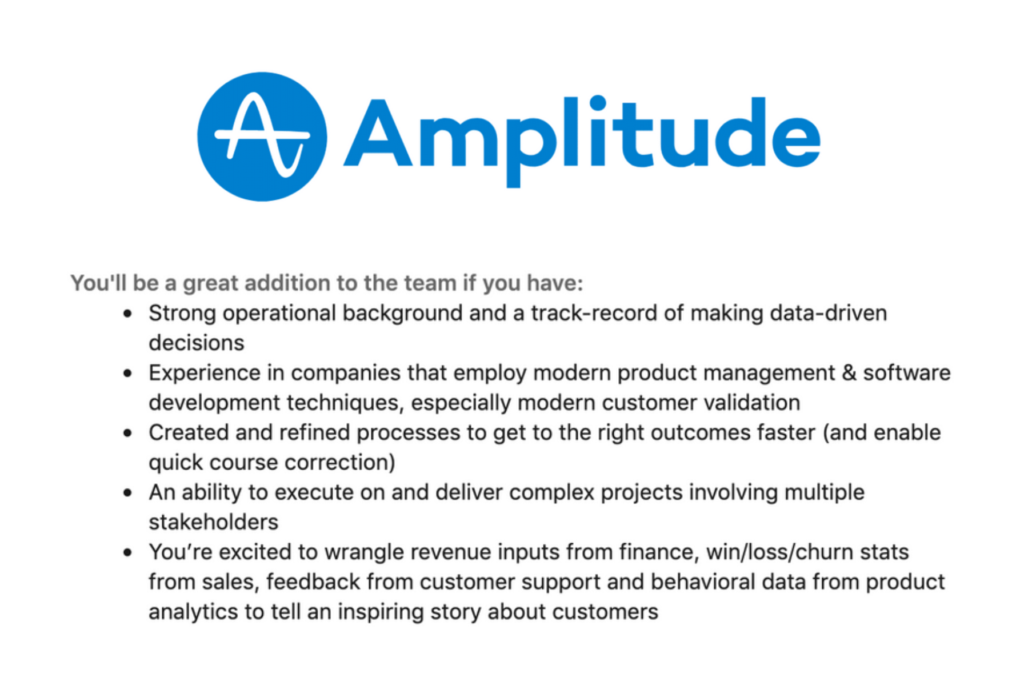 Amplitude product ops requirements