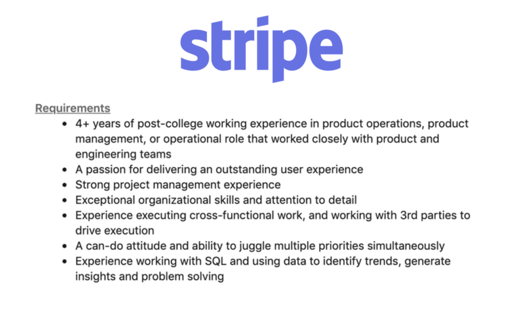 Stripe product ops requirements
