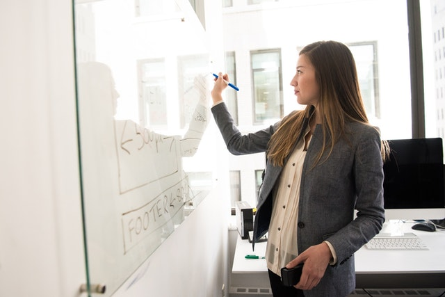 Product manager working on whiteboard