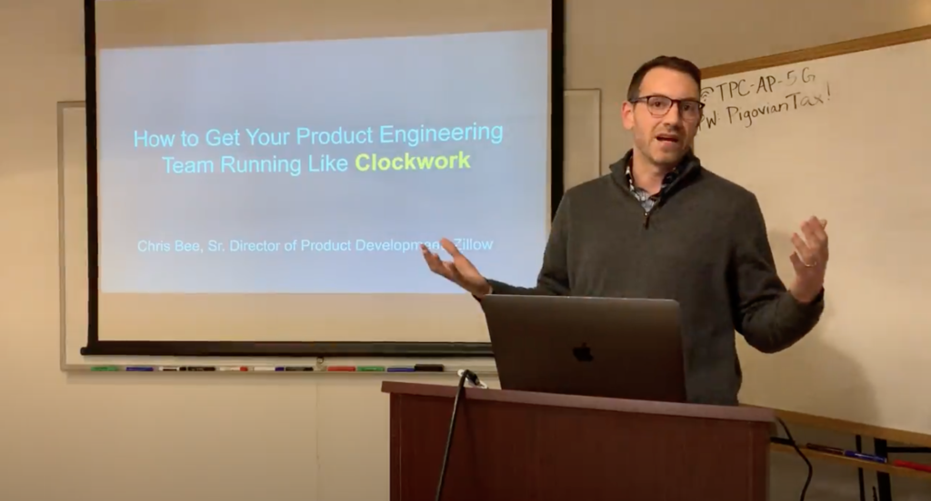 Chris giving a talk on product