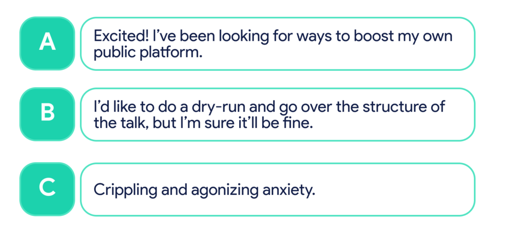 A. Excited! I've been looking for ways to boost my own platform. B. I'd like to do a dry-run first, but I'm sure it'll be fine. C. Crippling and agonizing anxiety.