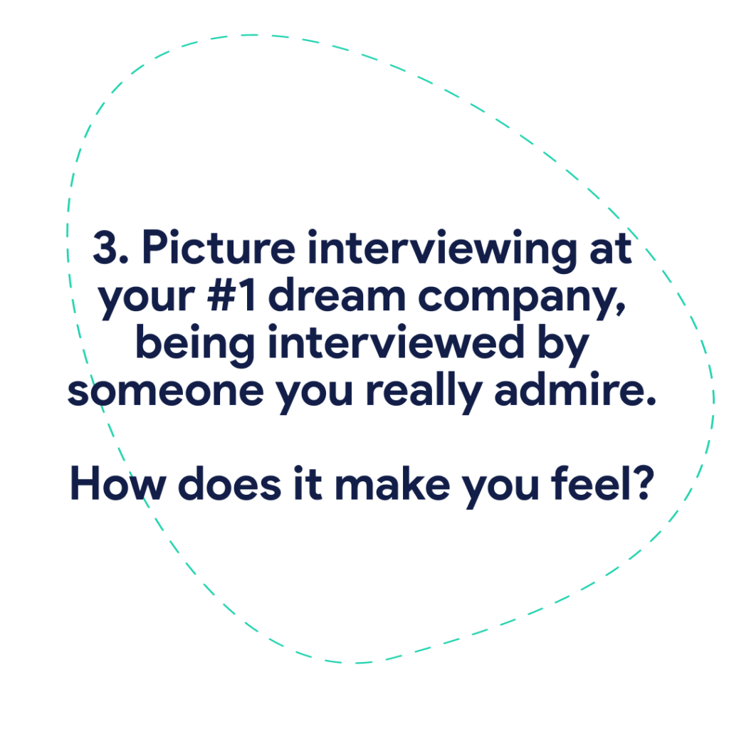 3. Picture interviewing at your #1 dream company, being interviewed by someone you really admire. How does it make you feel?