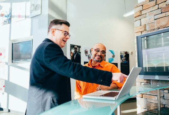 Salesperson talking to customer