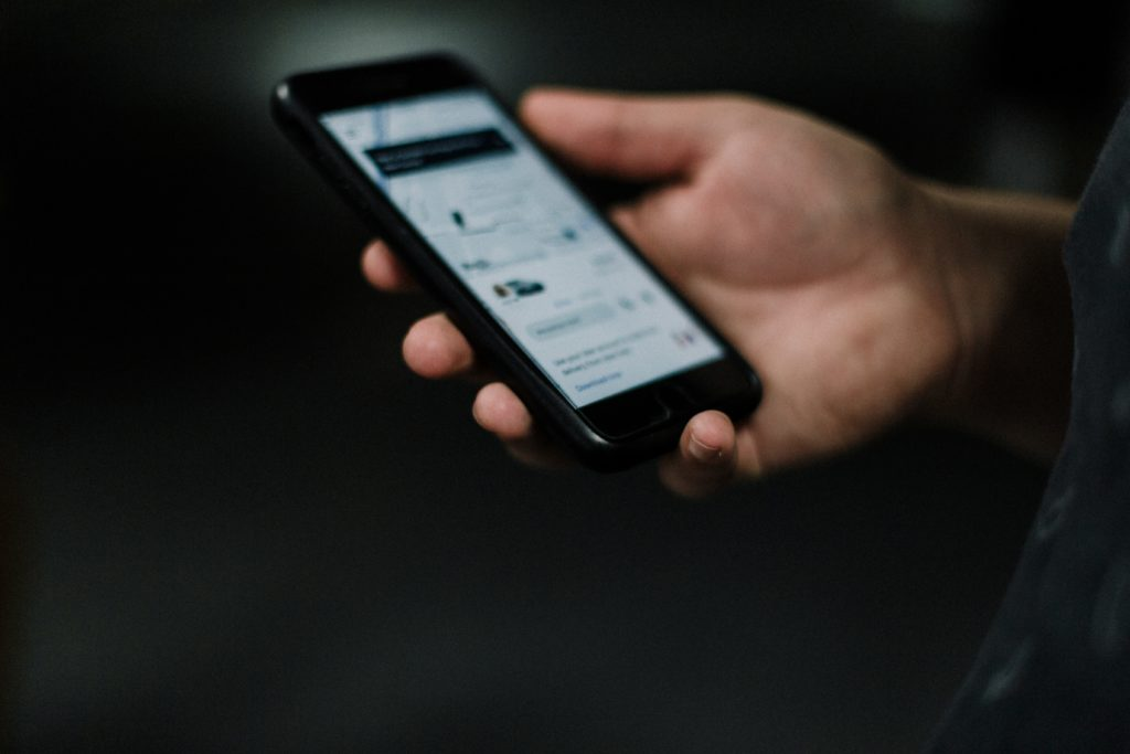 uber app on phone