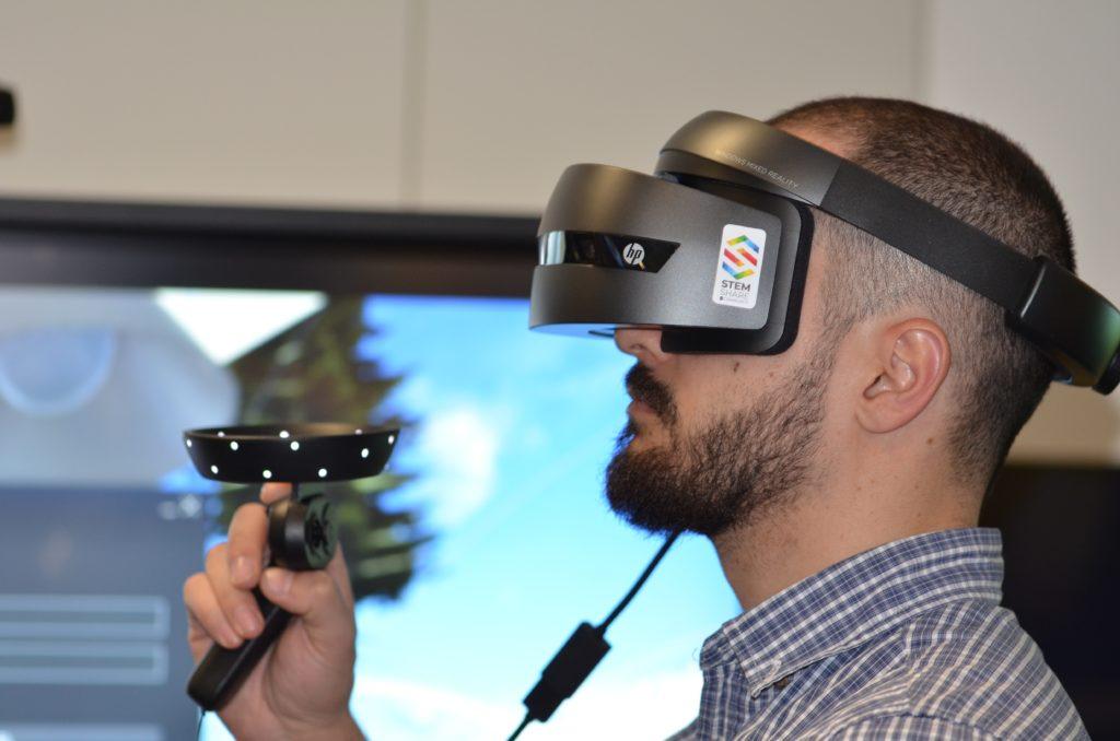 men using virtual reality glasses