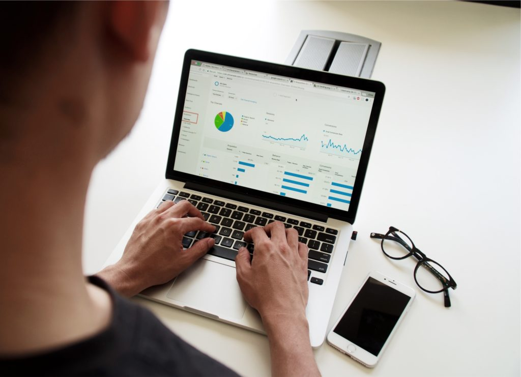 person using data on computer