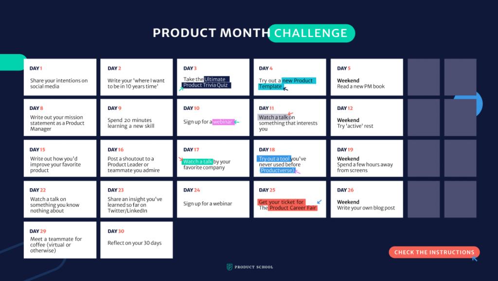 #ProductMonthChallenge Calendar