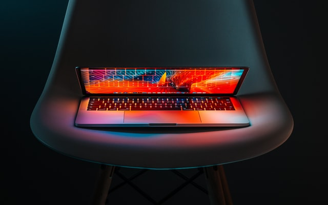 laptop on a chair