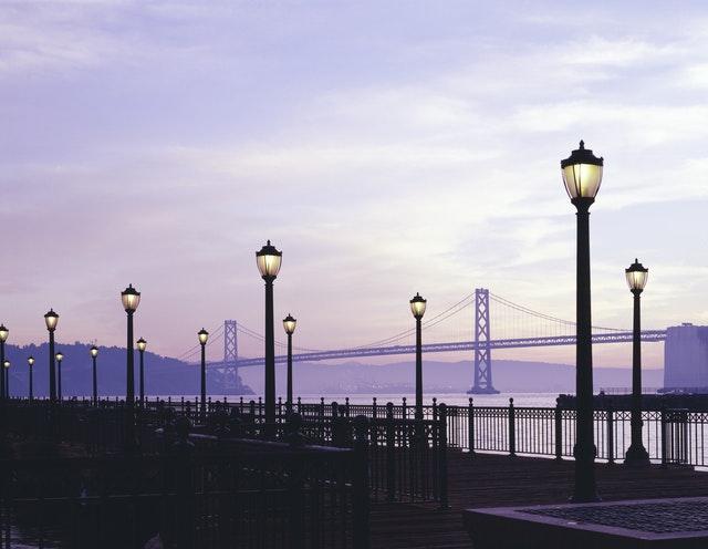 street with Golden Gate Bridge in background