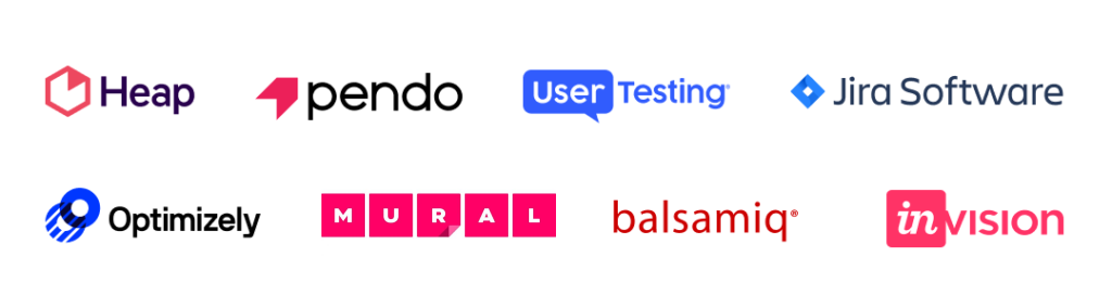 Logos for Heap, Pendo, UserTesting, Jira, Optimizely, MURAL, Balsamiq, InVision