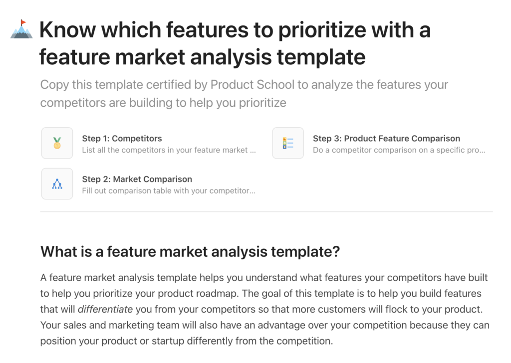 Coda Feature Market analysis template