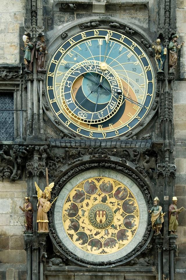 intricate clock faces