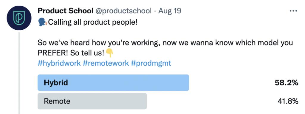 Product School hybrid work poll