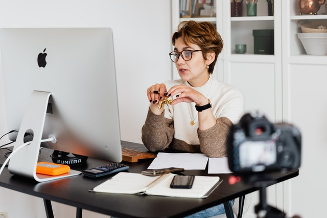 woman at desktop having a video call