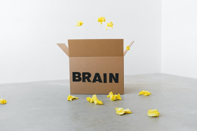 """open cardboard box with the work """"brain"""" on it, with pieces of yellow paper being thrown in"""